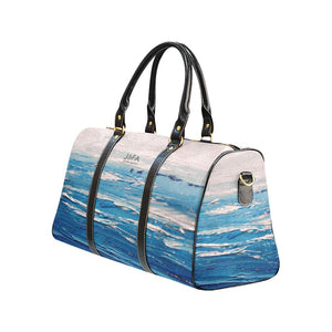 Blue White Waves Travel Bag | JSFA - JSFA - Original Art On Fashion by Jenny Simon