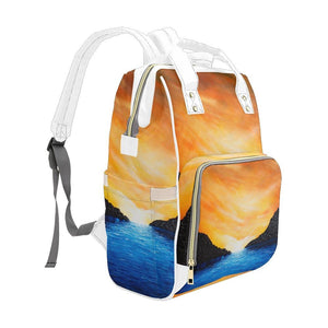 Dream Cove Blue Yellow Sunset Multi-Function Backpack | JSFA - JSFA - Original Art On Fashion by Jenny Simon