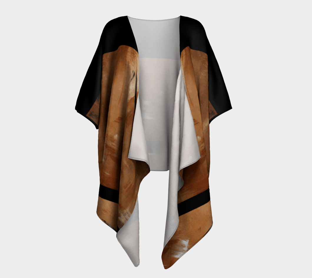 Golden Path Beige Kimono Wrap Black Stripe | JSFA - JSFA - Original Art On Fashion by Jenny Simon