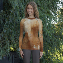 Load image into Gallery viewer, Golden Path Beige Long Sleeve Shirt/ Rash Guard - JSFA - Original Art On Fashion by Jenny Simon