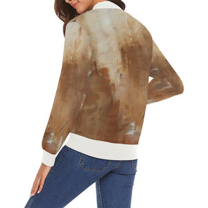 Golden Path Women's Casual Bomber Jacket | JSFA - JSFA - Original Art On Fashion by Jenny Simon
