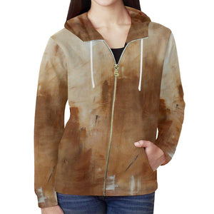 Golden Path Women's Zip Up Hoodie Jacket | JSFA - JSFA - Original Art On Fashion by Jenny Simon