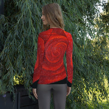 Load image into Gallery viewer, JSFA Oil Painting Red Rose on Long Sleeve Shirt Rash Guard - JSFA - Original Art On Fashion by Jenny Simon