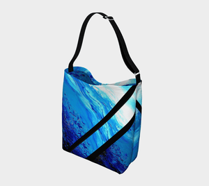Light Blue Ocean Shopper Black Stripes | JSFA - JSFA - Original Art On Fashion by Jenny Simon