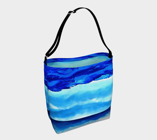 Light Blue Waves Shopper | JSFA - JSFA - Original Art On Fashion by Jenny Simon