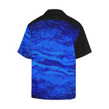 Load image into Gallery viewer, Men's Blue Secret Black Side Hawaiian Shirt | JSFA - JSFA - Original Art On Fashion by Jenny Simon