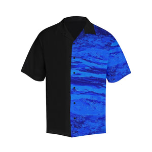 Men's Blue Secret Black Side Hawaiian Shirt | JSFA - JSFA - Original Art On Fashion by Jenny Simon