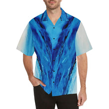 Load image into Gallery viewer, Men's Blue Secret Diagonal Hawaiian Shirt | JSFA - JSFA - Original Art On Fashion by Jenny Simon