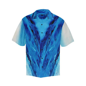 Men's Blue Secret Diagonal Hawaiian Shirt | JSFA - JSFA - Original Art On Fashion by Jenny Simon