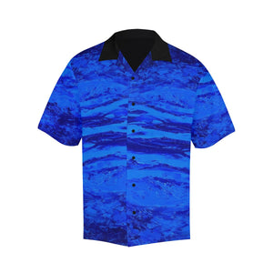 Men's Blue Secret Stripes Hawaiian Shirt | JSFA - JSFA - Original Art On Fashion by Jenny Simon