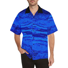 Load image into Gallery viewer, Men's Blue Secret Stripes Hawaiian Shirt | JSFA - JSFA - Original Art On Fashion by Jenny Simon