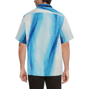 Men's Blue White Spleebound Wave Hawaiian Shirt | JSFA - JSFA - Original Art On Fashion by Jenny Simon