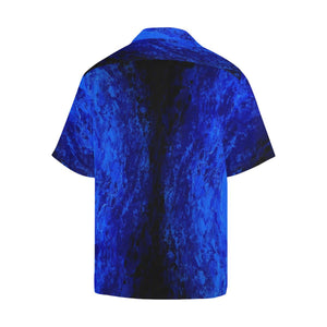 Men's Deep Blue Secret And Black Hawaiian Shirt | JSFA - JSFA - Original Art On Fashion by Jenny Simon