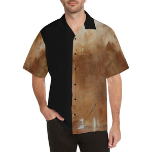 Men's Hawaiian Golden Path Shirt Beige Back | JSFA - JSFA - Original Art On Fashion by Jenny Simon