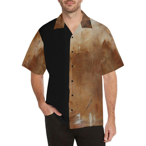 Men's Hawaiian Shirt Golden Path Beige Black | JSFA - JSFA - Original Art On Fashion by Jenny Simon