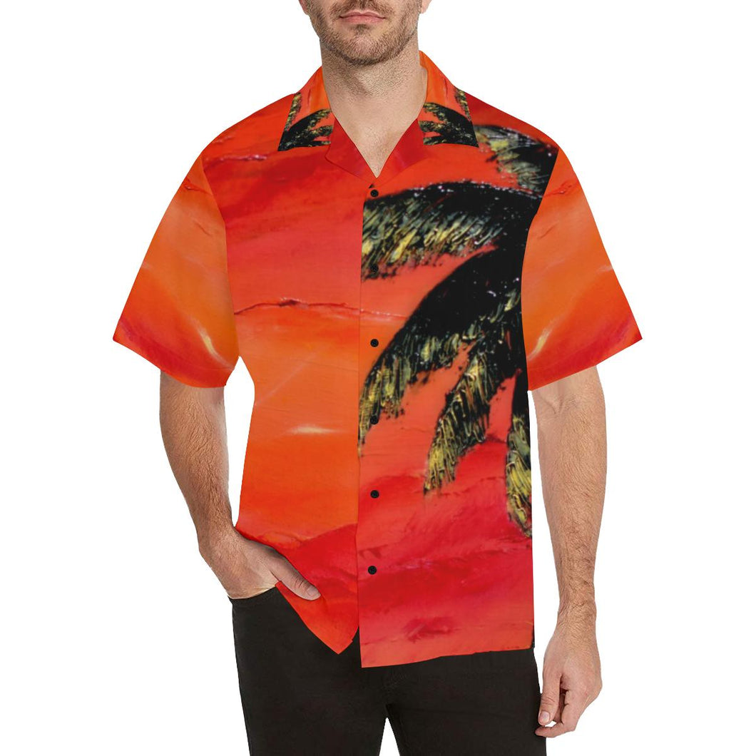 Men's Hawaiian Shirt Orange With Palm Tree | JSFA - JSFA - Original Art On Fashion by Jenny Simon
