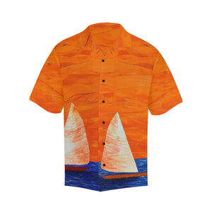 Men's Orange Boats Aloha Hawaiian Shirt | JSFA - JSFA - Original Art On Fashion by Jenny Simon