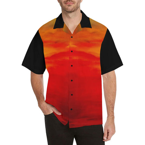 Men's Orange Sunset Black Sleeve Hawaiian Shirt | JSFA - JSFA - Original Art On Fashion by Jenny Simon
