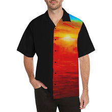 Load image into Gallery viewer, Men's Orange Sunset Hawaiian Shirt Black Side | JSFA - JSFA - Original Art On Fashion by Jenny Simon