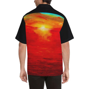 Men's Orange Sunset Hawaiian Shirt Black Side | JSFA - JSFA - Original Art On Fashion by Jenny Simon