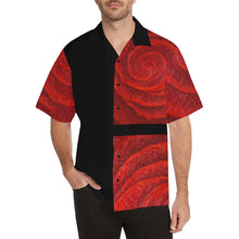 Load image into Gallery viewer, Men's Red Roses Black Side Hawaiian Shirt | JSFA - JSFA - Original Art On Fashion by Jenny Simon