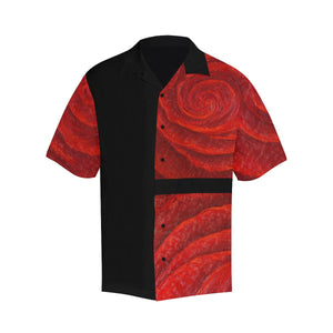 Men's Red Roses Black Side Hawaiian Shirt | JSFA - JSFA - Original Art On Fashion by Jenny Simon