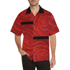 Men's Red Roses Black Stripe Hawaiian Shirt | JSFA - JSFA - Original Art On Fashion by Jenny Simon