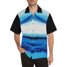 Load image into Gallery viewer, Men's Spellbound Blue Hawaiian Shirt Black Sleeves | JSFA - JSFA - Original Art On Fashion by Jenny Simon