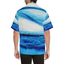 Load image into Gallery viewer, Men's Spellbound Blue White Hawaiian Shirt | JSFA - JSFA - Original Art On Fashion by Jenny Simon