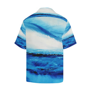 Men's Spellbound Blue White Hawaiian Shirt | JSFA - JSFA - Original Art On Fashion by Jenny Simon