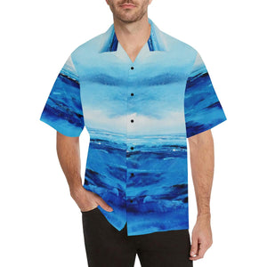 Men's Spellbound Light Blue White Hawaiian Shirt | JSFA - JSFA - Original Art On Fashion by Jenny Simon