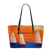 Load image into Gallery viewer, Orange Blue Sail Boats Large Tote Bag | JSFA - JSFA - Original Art On Fashion by Jenny Simon