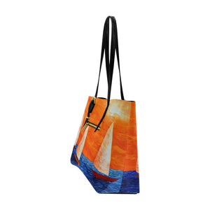 Orange Blue Sail Boats Large Tote Bag | JSFA - JSFA - Original Art On Fashion by Jenny Simon