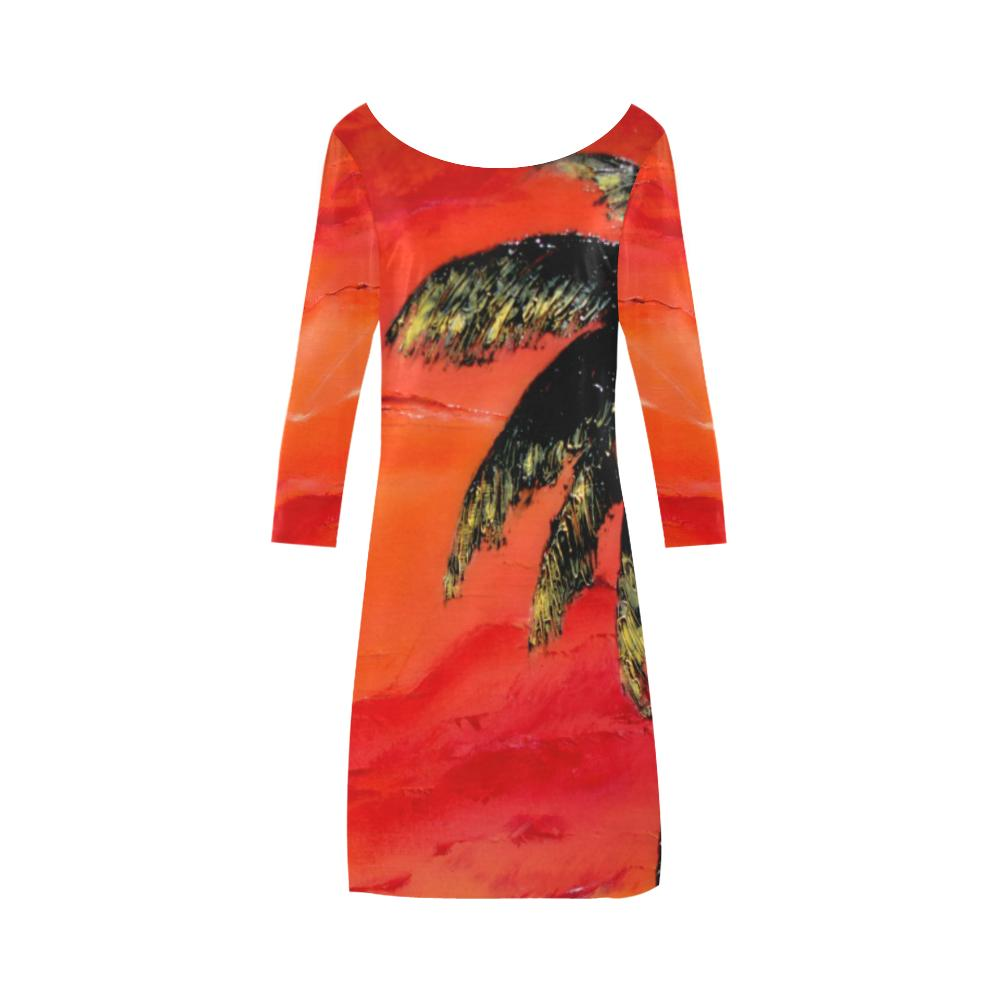 Orange Palm Tree A-Line Dress | JSFA - JSFA - Original Art On Fashion by Jenny Simon