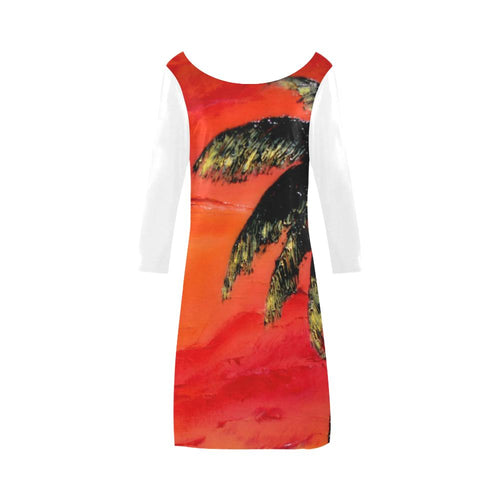 Orange Palm Tree White Sleeves A-Line Dress | JSFA - JSFA - Original Art On Fashion by Jenny Simon