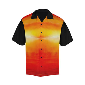 Orange Sunset Magic Black Sleeve Hawaiian Shirt | JSFA - JSFA - Original Art On Fashion by Jenny Simon