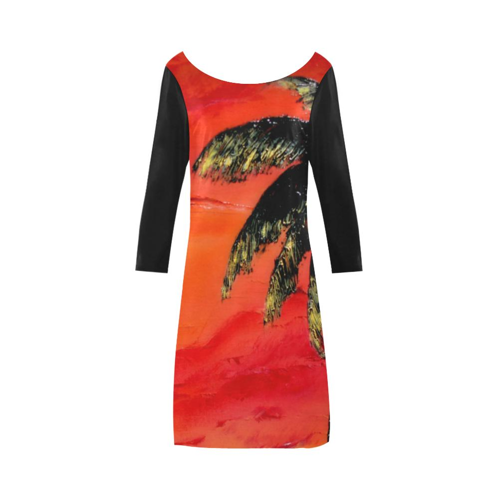 Orange Sunset Magic Black Sleeves A-Line Dress | JSFA - JSFA - Original Art On Fashion by Jenny Simon