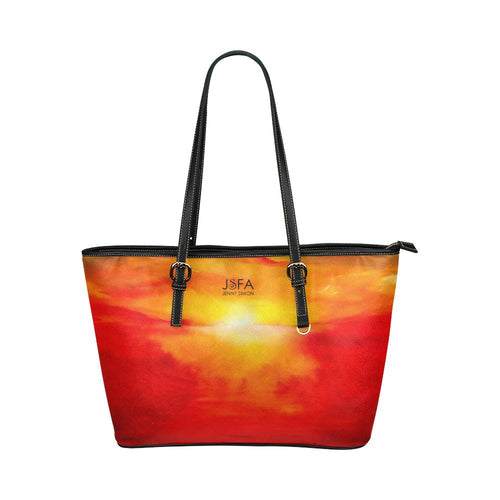 Orange Sunset Medium Zipper Leather Tote Bag | JSFA - JSFA - Original Art On Fashion by Jenny Simon