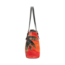 Load image into Gallery viewer, Palm Tree Orange Leather Tote Bag | JSFA - JSFA - Original Art On Fashion by Jenny Simon