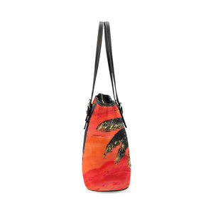 Palm Tree Orange Leather Tote Bag | JSFA - JSFA - Original Art On Fashion by Jenny Simon