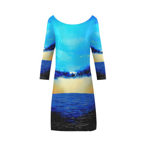Rebirth Blue A-Line Dress Women's Boat Neck | JSFA - JSFA - Original Art On Fashion by Jenny Simon