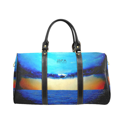 Rebirth Blue Gold Sunset Travel Bag | JSFA - JSFA - Original Art On Fashion by Jenny Simon