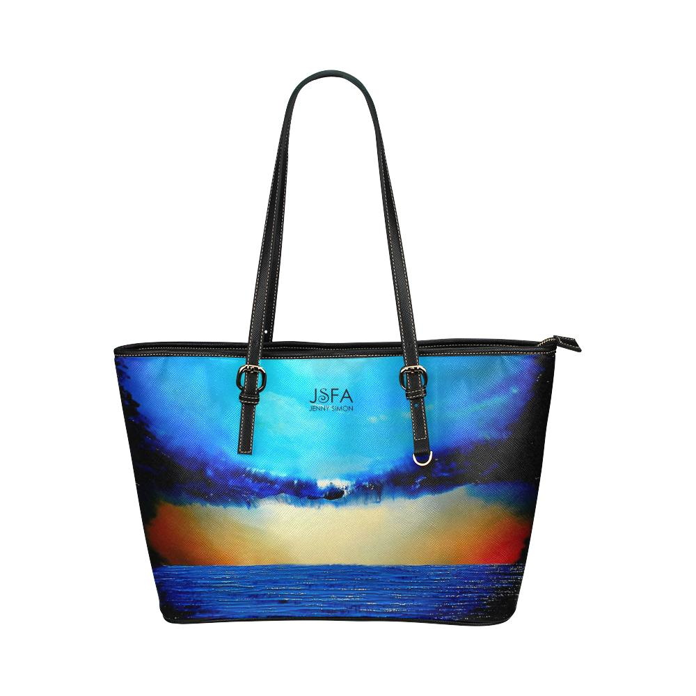 Rebirth Blue Medium Zipper Leather Tote Bag | JSFA - JSFA - Original Art On Fashion by Jenny Simon