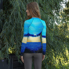 Load image into Gallery viewer, Rebirth Blue Yellow Long Sleeve Shirt/ Rash Guard - JSFA - Original Art On Fashion by Jenny Simon
