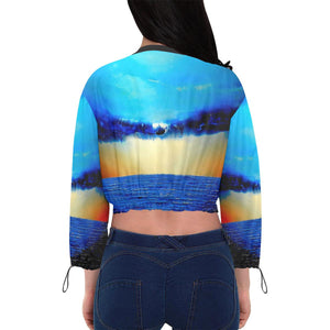Rebirth Sunset Women's Chiffon Cropped Jacket | JSFA - JSFA - Original Art On Fashion by Jenny Simon