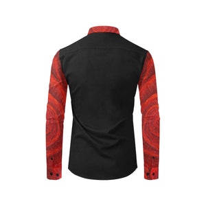 Red Rose Black Long Sleeve Men's Shirt | JSFA - JSFA - Original Art On Fashion by Jenny Simon