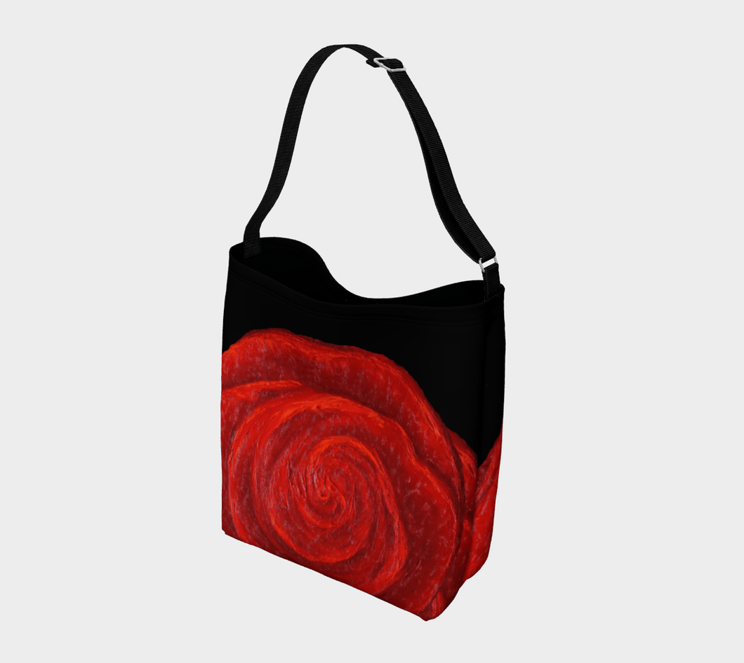 Red Rose Bud Shopper | JSFA - JSFA - Original Art On Fashion by Jenny Simon