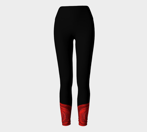 Red Rose Bud Yoga Pants | JSFA - JSFA - Original Art On Fashion by Jenny Simon