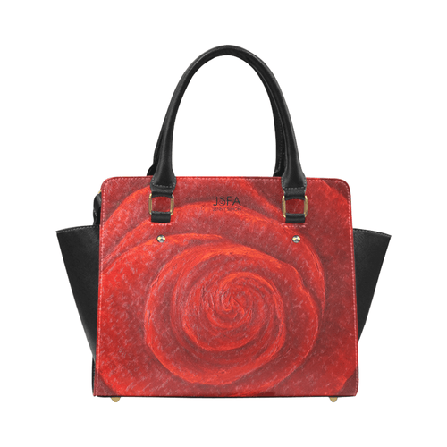 Red Rose Classic Handbag Top Handle | JSFA - JSFA - Original Art On Fashion by Jenny Simon