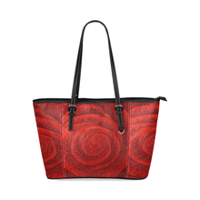 Load image into Gallery viewer, Red Rose Leather Tote Bag Black Trim | JSFA - JSFA - Original Art On Fashion by Jenny Simon